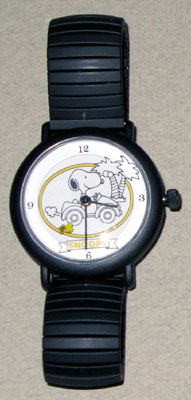 Snoopy driving car with Woodstock flying Watch with Black Link Band