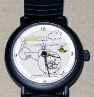 Snoopy in Helicopter with Woodstock flying Watch with Black Link Band