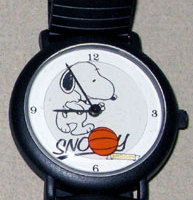 Snoopy dribbling Basketball Watch with Black Link Band