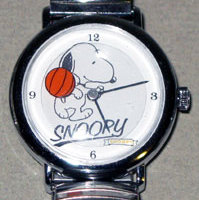 Snoopy dribbling Basketball Watch with Silver Link Band