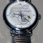 Snoopy in Helicopter with Woodstock flying Watch with Silver Link Band