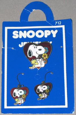 Snoopy and Woodstock with heart and flowers pin and earring set