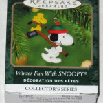 Snoopy and Woodstock carrying Hockey Sticks Ornament