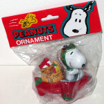 Snoopy Flying Ace in Red Plane with Sack of Toys Ornament