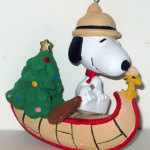 Snoopy & Woodstock Beagle Scouts in Canoe with Christmas Tree Ornament