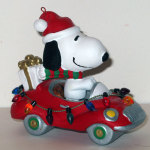 Snoopy Driving Red Car with Presents and Christmas Lights Ornament