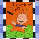 Linus In Pumpkin Patch 'Trick Or Treat' Halloween Large Flag