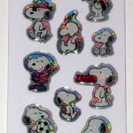 Snoopy Poses Glitter Raised Stickers