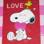 Snoopy hugging heart with Woodstock 'Love' Large Flag