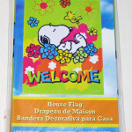 Snoopy sleeping in flowers with Woodstock 'Welcome' Large Decorative Flag