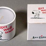 "Snoopy Love Lights Candle, ""Get Well Soon"""