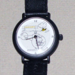 Snoopy in Helicopter with Woodstock flying Watch with Black Leather Band