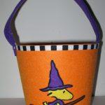 Woodstock as witch on broom Treat Bucket