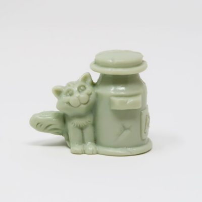 Grey Cat and Milk Can Figure