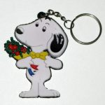 Snoopy holding bouquet Keychain