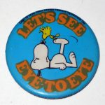 Snoopy angry at Woodstock Button