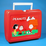 Peanuts Gang around camp fire Red Plastic Lunch Box