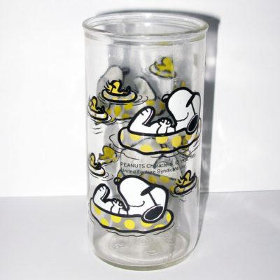 Snoopy & Woodstock in Pool Jelly Jar Glass
