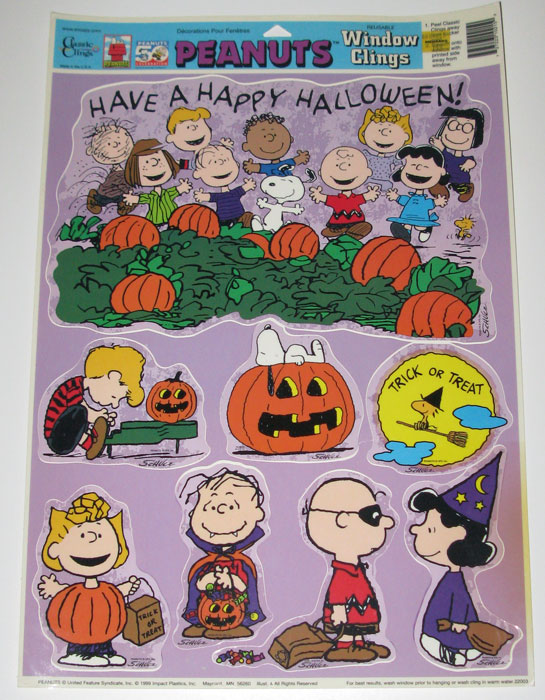 Peanuts Gang Happy Halloween Window Cling Sheet