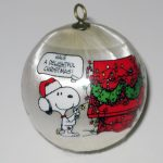Snoopy and Charlie Brown decorating Christmas Tree Satin Ball Ornament