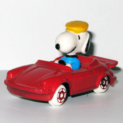 Snoopy in Red Porsche Type Car