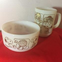 Snoopy Fire-King Mug & Bowl