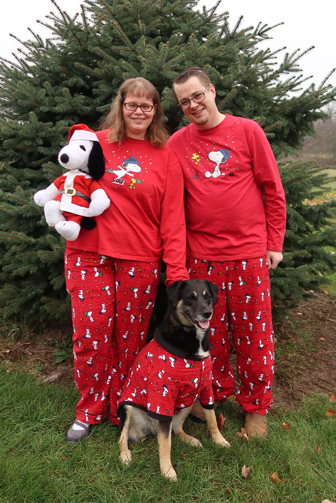 Allen, Rosa and I wearing our Pajamagram Pajamas