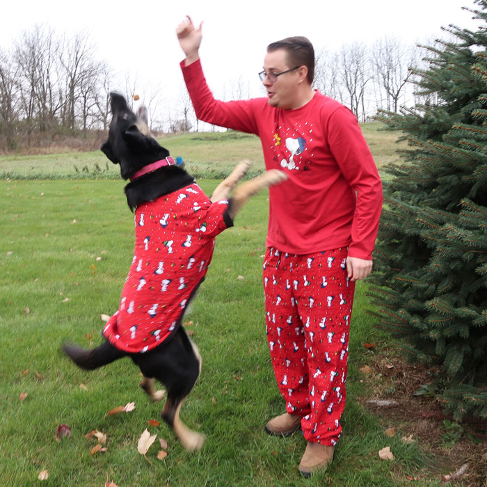 Action shot of Doggie Pajamagram Pajamas